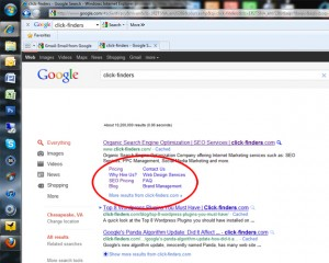 How to get Google Sitelinks - click-finders.com example