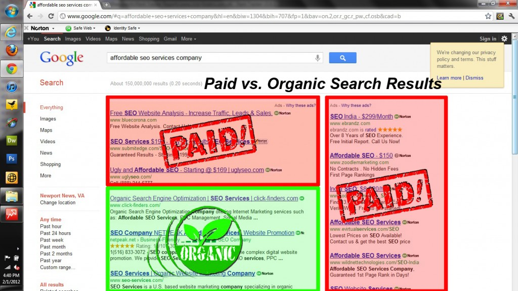 Organic vs Paid - SEO Services Warning by click-finders.com